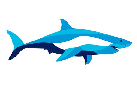 Trendy stylized illustration movement, shark, line vector silhouette of shark, vector illustration