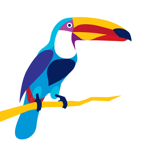 Trendy stylized illustration, toucan bird, line vector silhouette of toucan bird, vector illustration