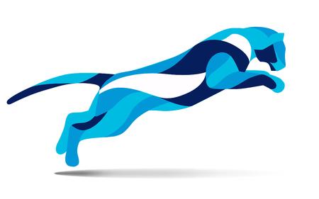 chita: Moda movimiento estilizada ilustración, salto gato salvaje, la línea vector silueta de salto de gato salvaje, ilustración vectorial
