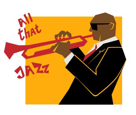 レトロなジャズ音楽のコンセプト、トランペット吹き、広告、ポスター、カバー ・ ジャズ ・ フェスティバルのための古い学校図  イラスト・ベクター素材