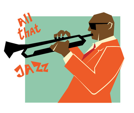 illustration for advertising: Retro jazz music concept, trumpet man, old school illustration for advertising, posters and cover Jazz Festival Illustration