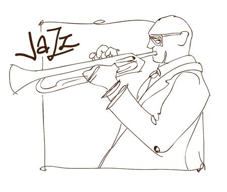 レトロなジャズ音楽のコンセプト、トランペット男スケッチ、広告、ポスター、カバー ・ ジャズ ・ フェスティバルのための古い学校図  イラスト・ベクター素材