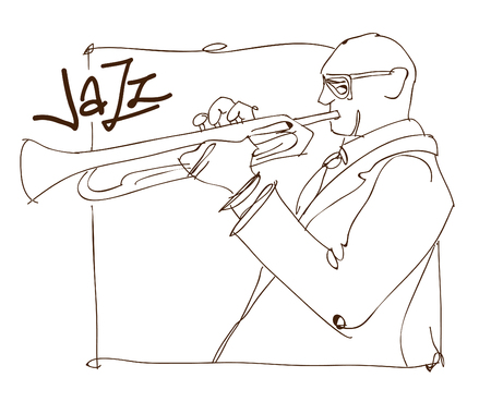 Retro jazz music concept, trumpet man sketch, old school illustration for advertising, posters and cover Jazz Festival Çizim