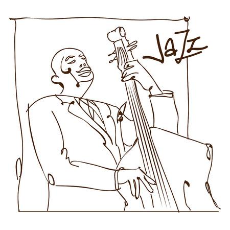 レトロなジャズ音楽のコンセプト、二重低音の男スケッチ、広告、ポスターやカバー ・ ジャズ ・ フェスティバルのための古い学校図