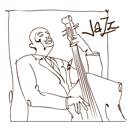 Retro jazz music concept, double bass man sketch, old school illustration for advertising, posters and cover Jazz Festival Stok Fotoğraf - 61603504