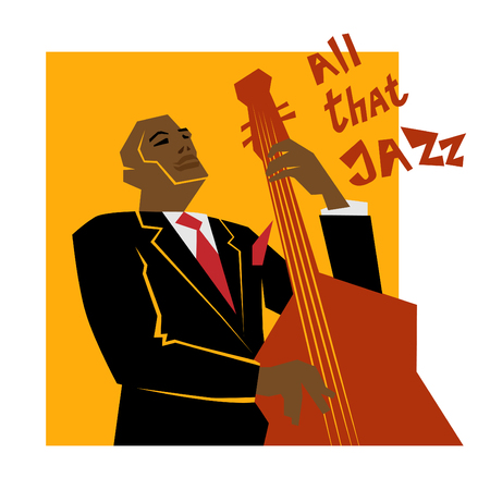 レトロなジャズ音楽のコンセプト、コントラバスの人、広告、ポスター、カバー ・ ジャズ ・ フェスティバルのための古い学校図
