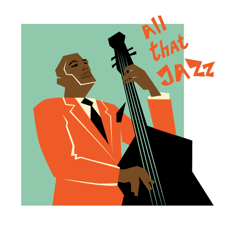 Retro jazz music concept, double bass man, old school illustration for advertising, posters and cover Jazz Festival Çizim