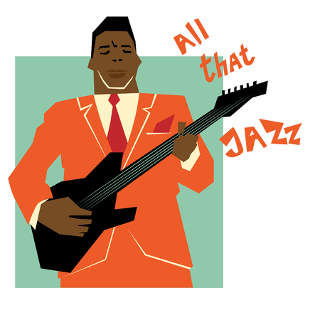 Retro jazz music concept, guitar man, old school illustration for advertising, posters and cover Jazz Festival Stok Fotoğraf - 61603498
