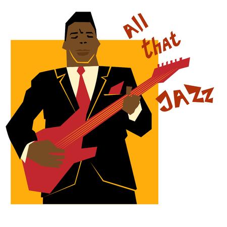 レトロなジャズ音楽のコンセプト、ギター男、広告、ポスター、カバー ・ ジャズ ・ フェスティバルのための古い学校図  イラスト・ベクター素材