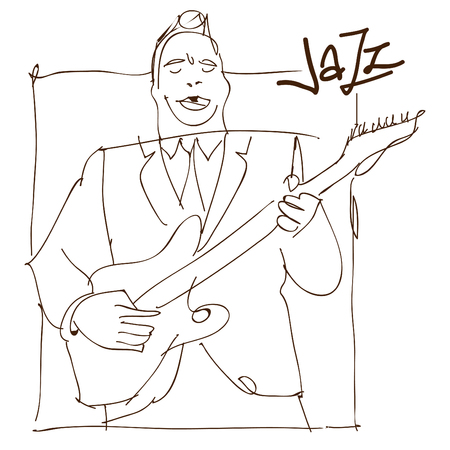 Retro jazz music concept, guitar man sketch, old school illustration for advertising, posters and cover Jazz Festival Stok Fotoğraf - 61603499