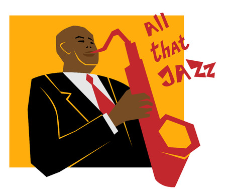 レトロなジャズ音楽のコンセプト、サックスの人、広告、ポスター、カバー ・ ジャズ ・ フェスティバルのための古い学校図  イラスト・ベクター素材