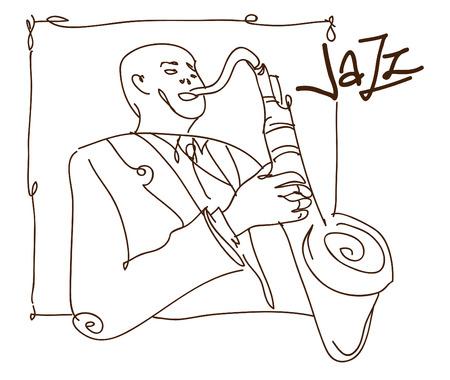 レトロなジャズ音楽のコンセプトをサックス男スケッチ、広告、ポスター、カバー ジャズ フェスティバルの古い学校ベクトル イラスト