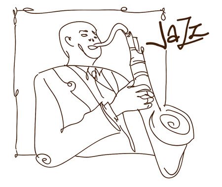 Retro jazz music concept, saxophone man sketch, old school vector illustration for advertising, posters and cover Jazz Festival
