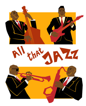 Retro jazz music concept, jazz band, old school illustration for advertising, posters and cover Jazz Festival Çizim