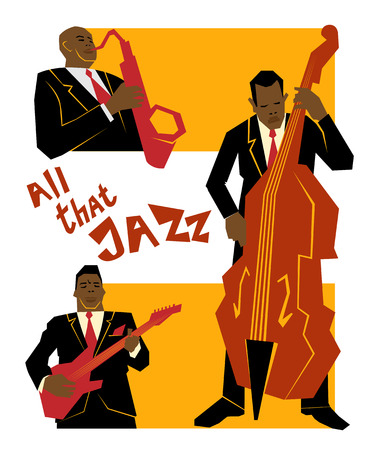 Retro jazz music concept, jazz band, old school illustration for advertising, posters and cover Jazz Festival  イラスト・ベクター素材