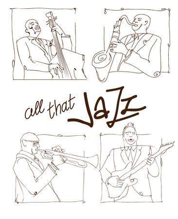 レトロなジャズ音楽のコンセプト、ジャズバンドのスケッチ、広告、ポスター、カバー ジャズ フェスティバルの古い学校ベクトル イラスト
