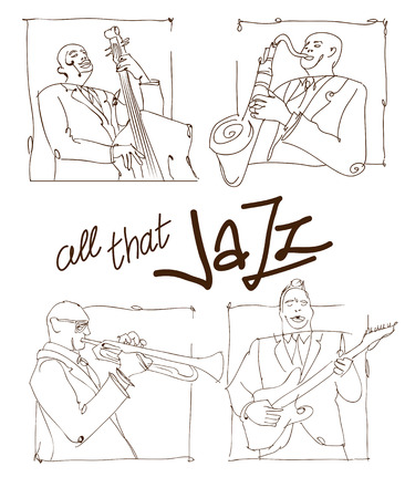 illustration for advertising: Retro jazz music concept, jazz band sketch, old school vector illustration for advertising, posters and cover Jazz Festival