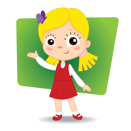 Little cute girl hand indicates. vector illustration EPS10