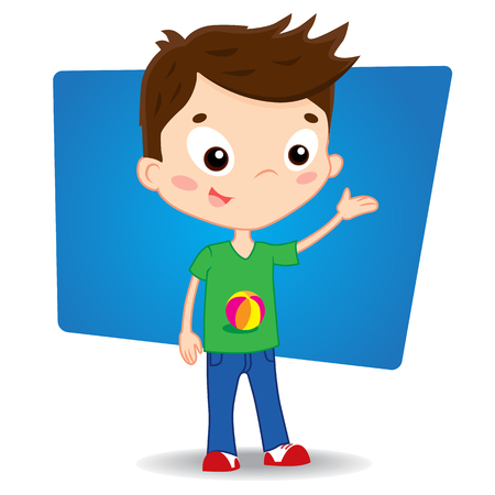 幸せな少年漫画イラスト手を示します。eps10。  イラスト・ベクター素材