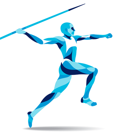 Trendy stylized illustration movement, javelin-throwing, line vector silhouette of javelin-throwing Çizim