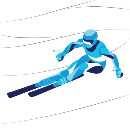 Trendy stylized illustration movement, skier, line vector silhouette