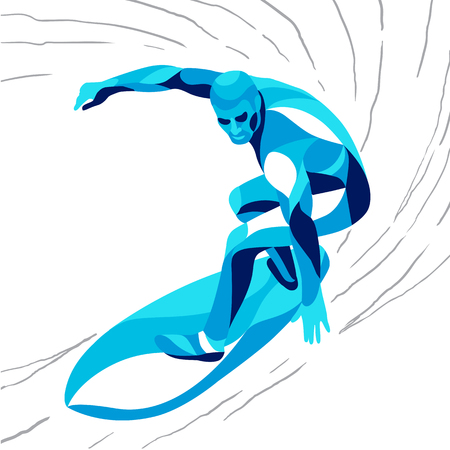 流行様式図運動、サーファー、行ベクトル シルエット