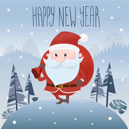 Santa Claus is out of the woods. Flat style. Vector illustration. eps 10.