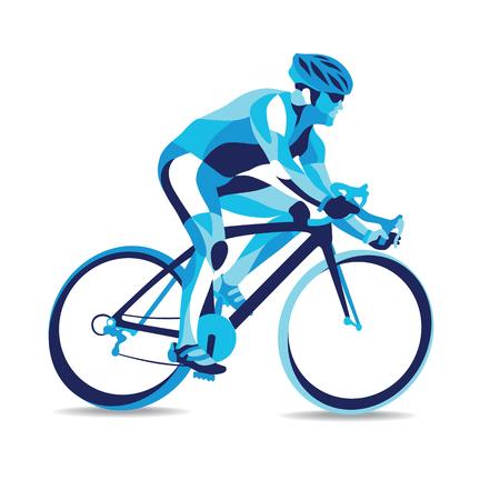 流行様式図運動、自転車レース、自転車レースの行ベクトル シルエット。
