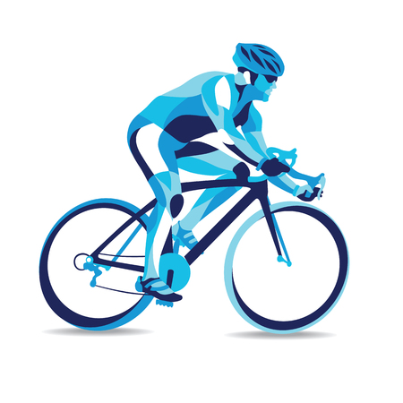 Trendy stylized illustration movement, bicycle race, line vector silhouette of bicycle race. Çizim