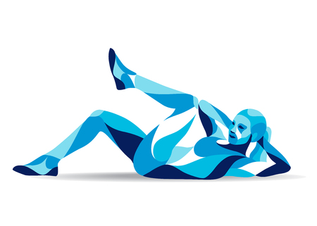 Trendy stylized illustration movement, fitness woman training abs, line vector silhouette.