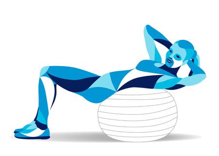流行の様式化された図の動き、女性フィットネス ボール、トレーニング abs、ラインのベクトル シルエット。  イラスト・ベクター素材