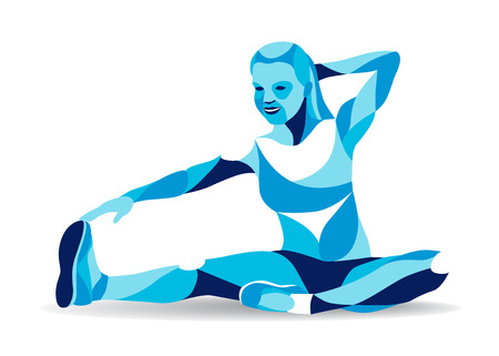laying abs exercise: Trendy stylized illustration movement, fitness woman stretching leg, line vector silhouette.