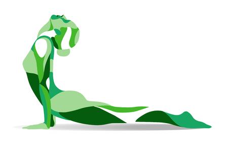 流行様式図運動、ヨガのポーズ、行ベクトル シルエットのアーサナの練習の若い女性。
