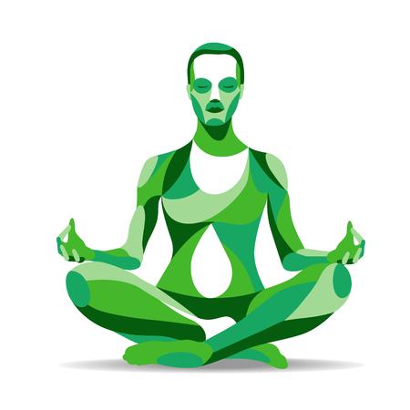 流行様式図運動、ヨガのポーズ、瞑想、ライン シルエットを実践する若い女性。  イラスト・ベクター素材