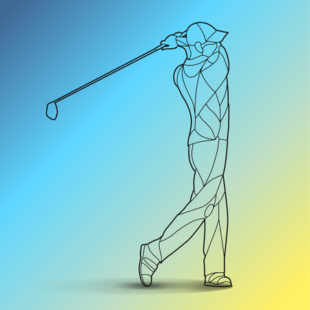 Trendy stylized illustration movement, golf player, golfer, line art vector silhouette of golf player, isolated on gradient background.