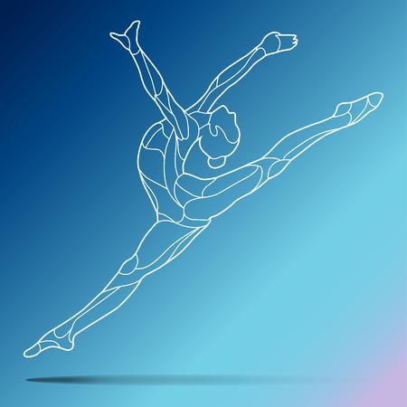 流行様式図運動中体操、アクロバット、グラデーションの背景で隔離中の体操のライン アートのベクトル シルエット