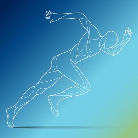 グラデーションの背景に分離された男、ライン アート ベクトル シルエット男、実行している実行しているトレンディな様式化された図の動き
