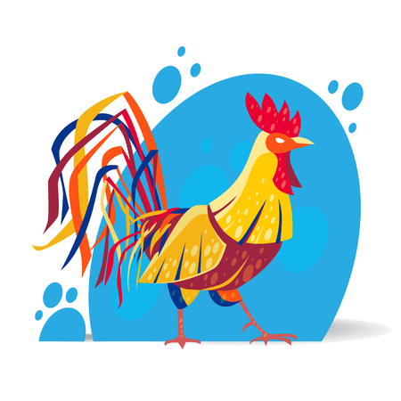 Vector illustration of rooster in modern stylized design