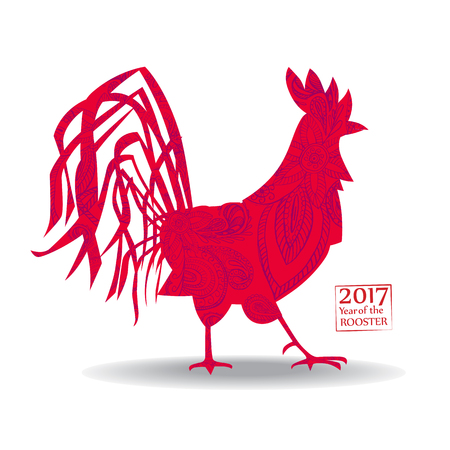 Vector illustration of rooster, symbol 2017 on the Chinese calendar. Silhouette red cock, decorated with floral patterns.