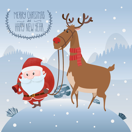 Santa Claus with christmas deer on the snow hill. Inscription Merry Christmas and Happy new year. Vector illustration. eps 10.