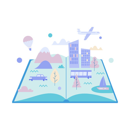 Concept flat illustration. Big city, mountains, transport inside the open book.