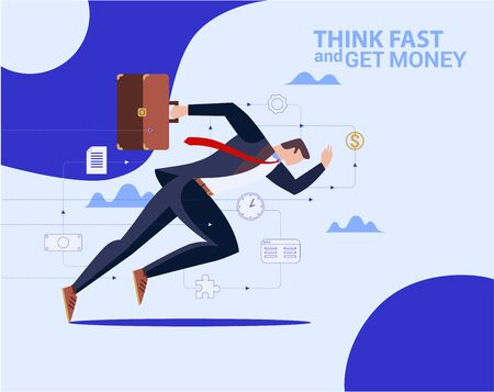 Concept Flat illustration. Running Businessman in suit with briefcase.
