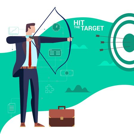 Concept Flat illustration. Archer Businessman. Hit the target word.  イラスト・ベクター素材