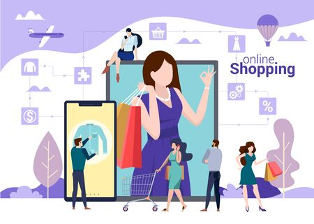 Online shopping vector concept with people choosing, buying and carrying bags with purchases. Online store, digital marketing, travel and lifestyle illustration Illustration