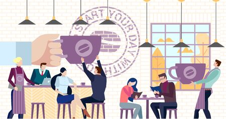 Concept Flat illustration. Business people drink coffee read the books inside the cafe. Start your day with coffee words. Illustration