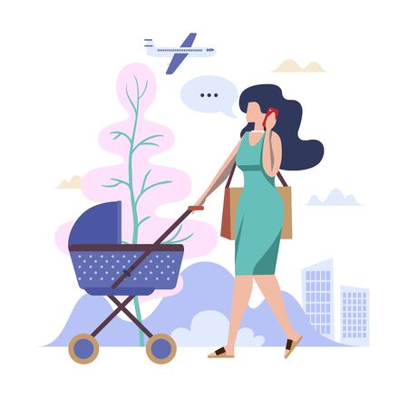 Concept Flat illustration. Young woman walking with a baby carriage and talk on smartphone.