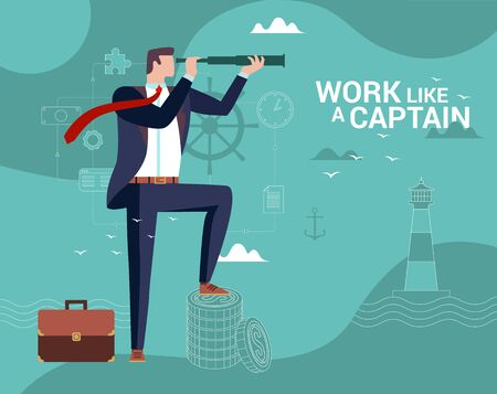Concept Flat illustration. Businessman Captain Looks Through A Telescope. Work like a Captain word. Çizim