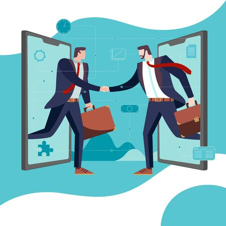 Concept Flat illustration. Business Partners come out of smartphones and handshake. Illustration
