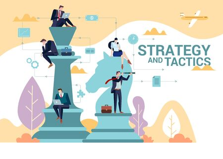 Concept Flat illustration. Business people team play to chess. Strategy and Tactics word. Illustration