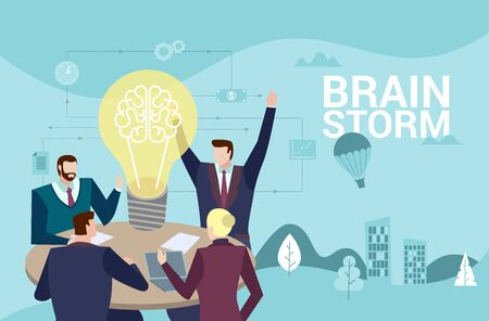 Concept Flat illustration. Business people team keep a meeting and generic new idea. Brainstorm word.